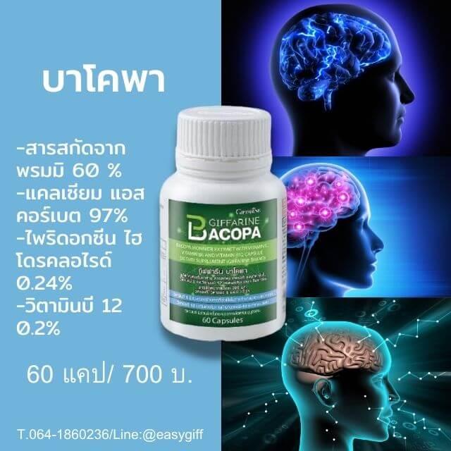 ป้องกันสมองเสื่อม และอัลไซเมอร์ ,อาหารสมอง กิฟฟารีน, บาโคพา กิฟฟารีน,พรมมิ กิฟฟารีน,บำรุงประสาท,บำรุงสมอง,ป้องกันอัลไซเมอร์,ช่วยเพิ่มความจำ,บาโคพาบำรุงสมอง